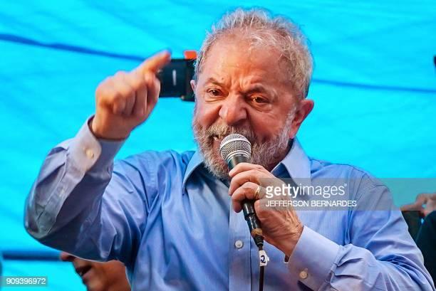 Former Brazilian president Luiz Inacio Lula da Silva speaks during a demonstration at the state of Rio de Grande do Sul in Porto Alegre Brazil on...