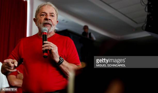 Former Brazilian president Luiz Inacio Lula da Silva speaks during a rally with supporters at the Metallurgical Union in Sao Bernardo do Campo Sao...