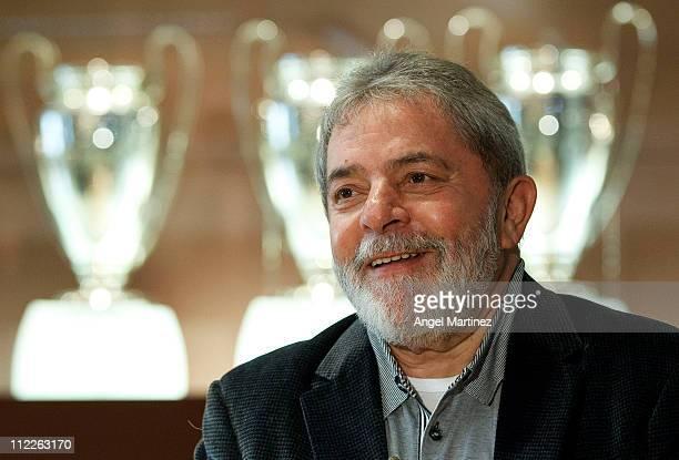 Former Brazilian President Lula da Silva smiles during a visit to the Estadio Santiago Bernabeu on April 16 2011 in Madrid Spain