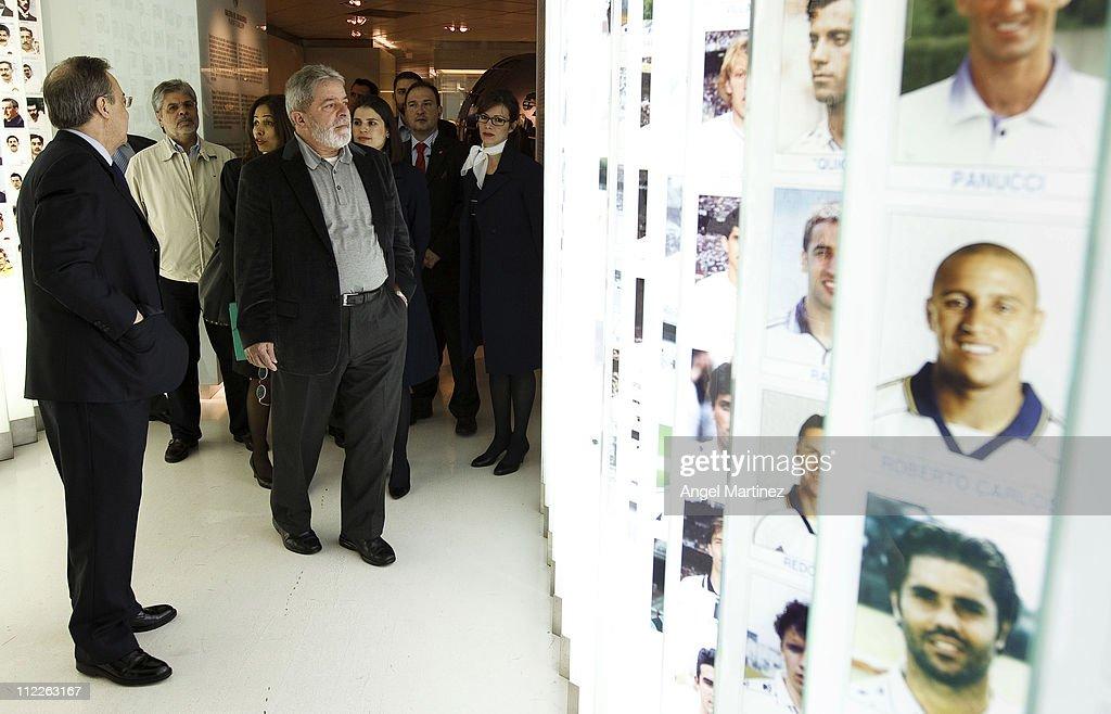 Former Brazilian President Lula da Silva visits the Real Madrid museum during a visit to the Estadio Santiago Bernabeu on April 16, 2011 in Madrid, Spain.