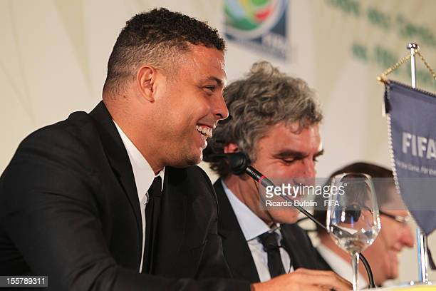 Former Brazilian striker Ronaldo member of Confederations Cup 2013 LOC laughs during the press conference on the final confirmation of venues and...