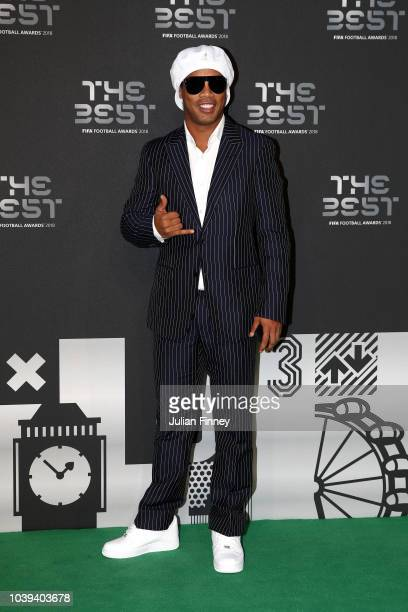Former Brazillian footballer Ronaldinho arrives on the Green Carpet ahead of The Best FIFA Football Awards at Royal Festival Hall on September 24...