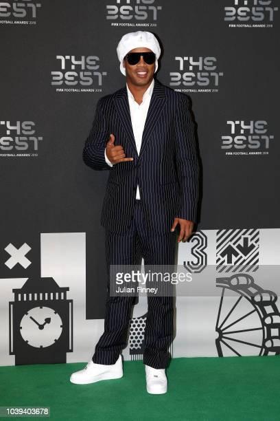 Former Brazillian footballer Ronaldinho arrives on the Green Carpet ahead of The Best FIFA Football Awards at Royal Festival Hall on September 24,...