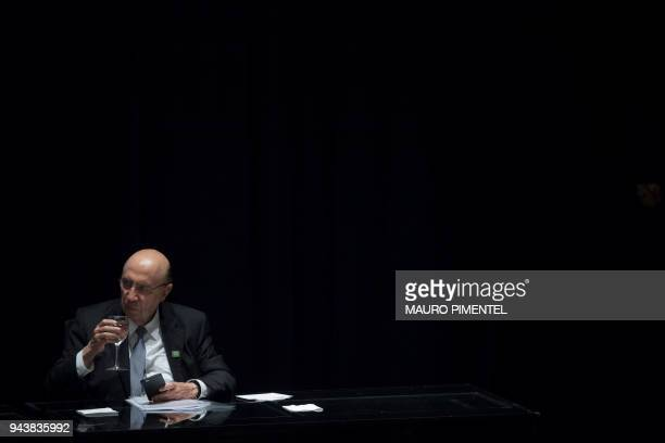Former Brazil's Finance Minister Henrique Meirelles is pictured during the designation ceremony of the new president of the Brazilian National Bank...