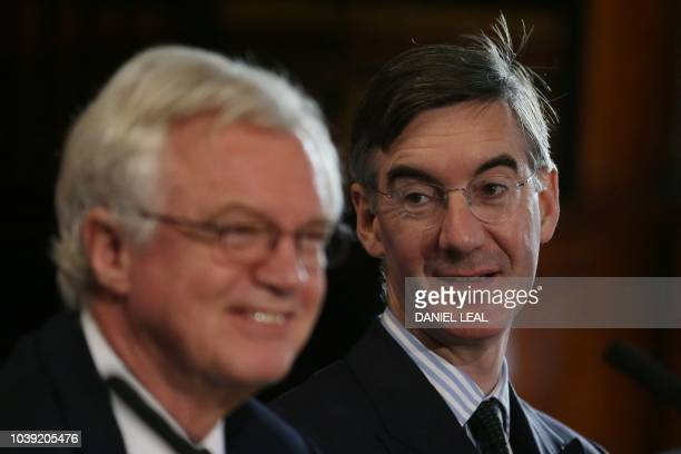 Former Brexit minister David Davis and Jacob ReesMogg MP take part in the launch of a Brexit research paper by the Institute of Economic Affairs in...