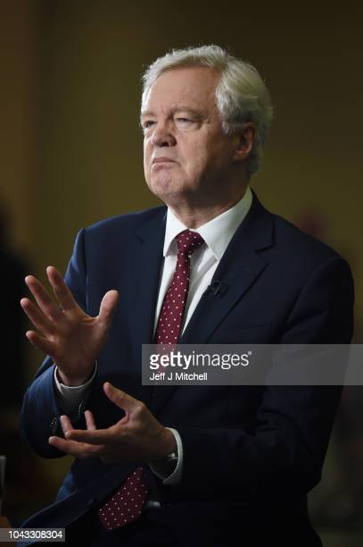 Former Brexit Secretary David Davies speaks to journalist Sophy Ridge of Sky News during the annual Conservative Party Conference at the...