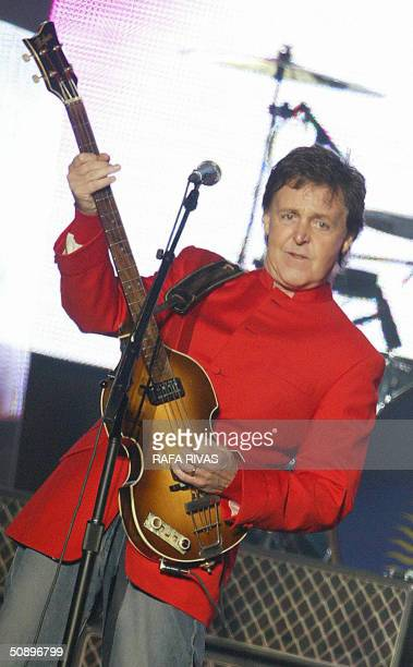 Former British Beatle Paul McCartney performs at the Molinon stadium in the northern Spanish city of Santander, late 25 May 2004 during the opening...