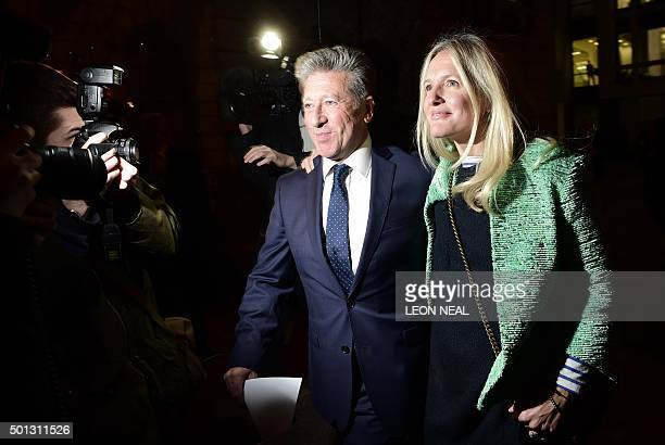 Former British DJ Neil Fox leaves Westminster Magistrates Court in central London with his wife Vicky on December 14 2015 after being found not...
