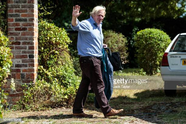 Former British Foreign Secretary Boris Johnson arrives at his countryside home on August 13 2018 in Oxford England An inquiry is to take place...