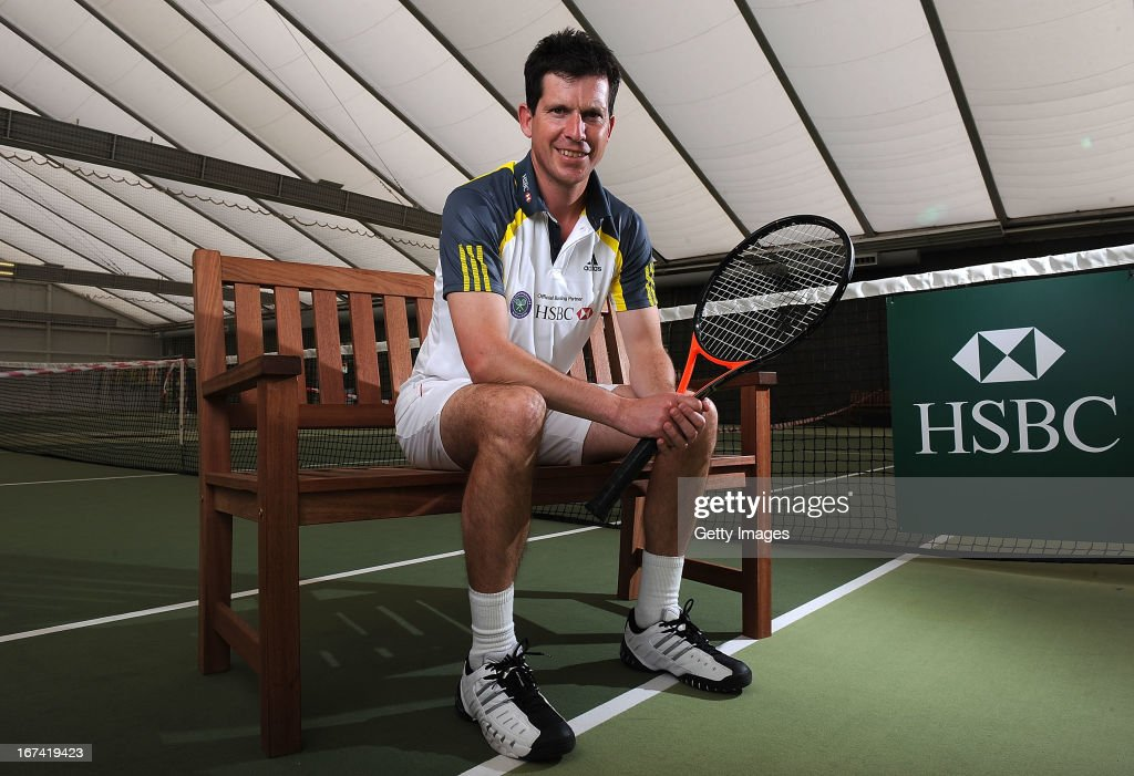 Former British No1 and HSBC Ambassador Tim Henman poses for photographs during the HSBC Community Tennis Clinic at Hampshire Health & Racquets Club on April 25, 2013 in Southampton, England.