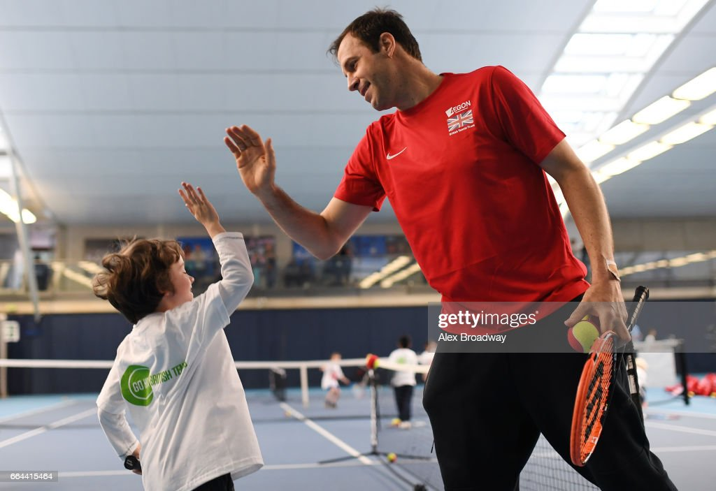 Former British No.1 Greg Rusedski attends the launch of Tennis for Kids 2017, the Lawn Tennis Association's grassroots initiative in partnership with Highland Spring to offer 20,000 free coaching courses to children aged 5-8 at the National Tennis Centre on April 4, 2017 in London, England.