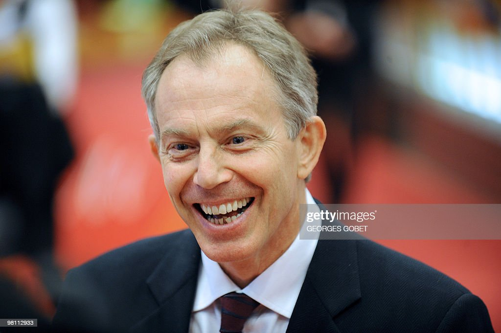 Former British premier Tony Blair, who is the special envoy for the Middle East Quartet of the EU smiles after he delivered a speech during a press conference after his working session with EU foreign ministers at the EU Commission on March 22, 2010 in Brussels. EU foreign ministers called for a total freeze on Jewish settlement building in the Palestinian territories, as Israeli foreign minister Avigdor Lieberman visited Brussels.