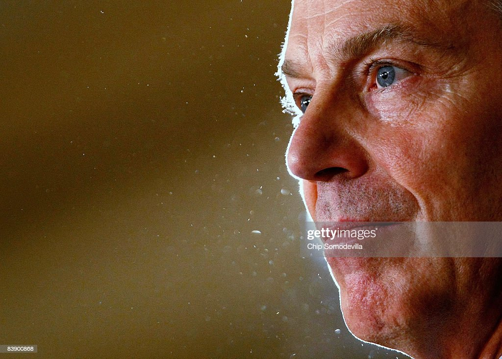 Former British Prime Minister and current member of the Middle East Quartet Tony Blair addresses a meeting of the Council on Foreign Relations at the Washington Club December 3, 2008 in Washington, DC. Blair delivered remarks and participated in a question and answer period about his work in fostering peace between Palestinians and Israelis.