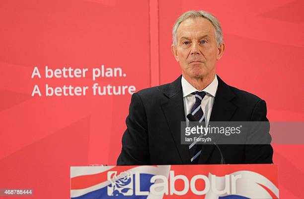 Former British Prime Minister and former Labour MP for Sedgefield, Tony Blair gives a speech to waiting party members ahead of a visit to the...