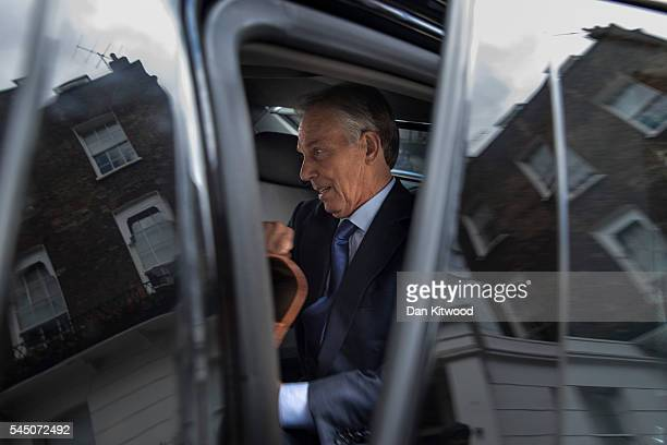 Former British Prime Minister and former Leader of the opposition Labour Party Tony Blair leaves his Grosvenor Square offices on July 5 2016 in...