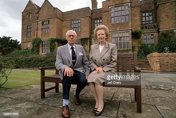 Former British Prime Minister Baroness Margaret Thatcher and her husband Dennis Thatcher outside Chequers September 1993