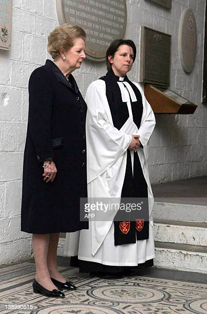 Former British Prime Minister Baroness Margaret Thatcher attends a short service by Canon Lucy Winkett marking the 25th anniversary of the start of...