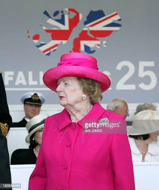 Former british Prime minister Baroness Margaret Thatcher attends a memorial parade with veterans of the Falklands Conflict on Horseguards in London...