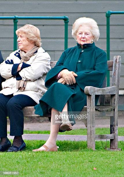 Former British Prime Minister Baroness Margaret Thatcher spends an afternoon watching school children playing football in Battersea Park with her...