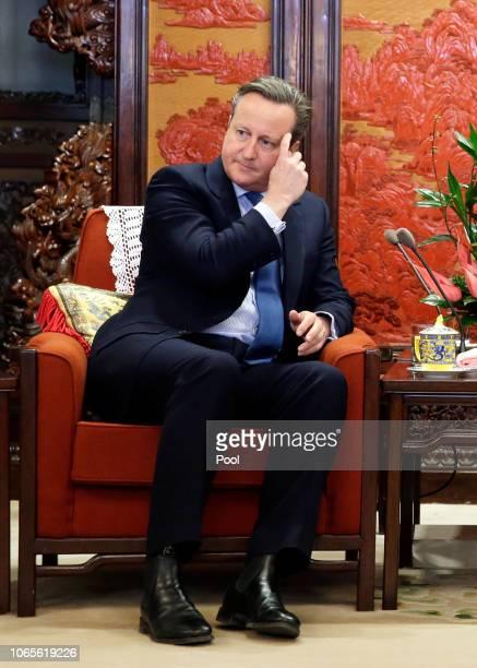 Former British Prime Minister David Cameron meets China's Premier Li Keqiang at Zhongnanhai leadership compound on November 27, 2018 in Beijing,...