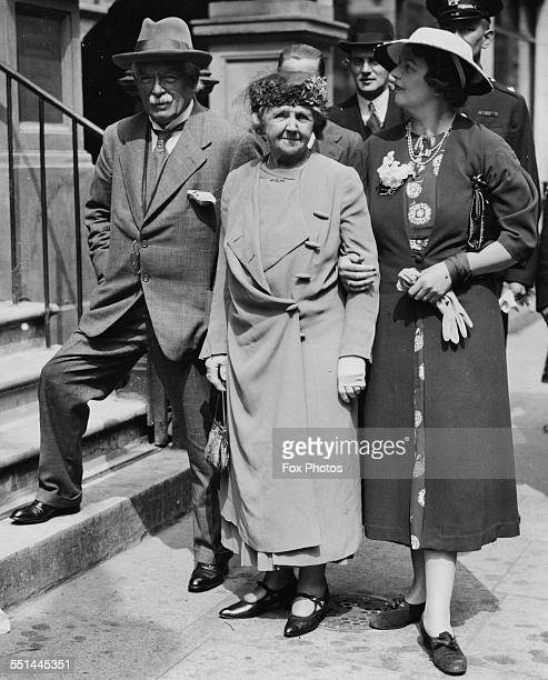 Former British Prime Minister David Lloyd George with his wife Margaret and daughter Lady Carey Evans arriving at the Welsh Baptist Church in London...