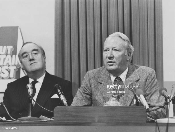 Former British Prime Minister Edward Heath and William Whitelaw deputy leader of the party at the Conservative Party election conference in Smith...