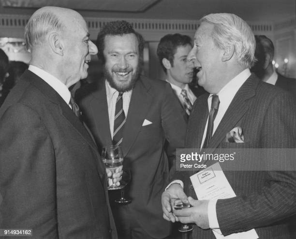Former British Prime Minister Edward Heath with yachtsmen Robin KnoxJohnston and Sir Alec Rose during a Foyles literary luncheon at the Dorchester...