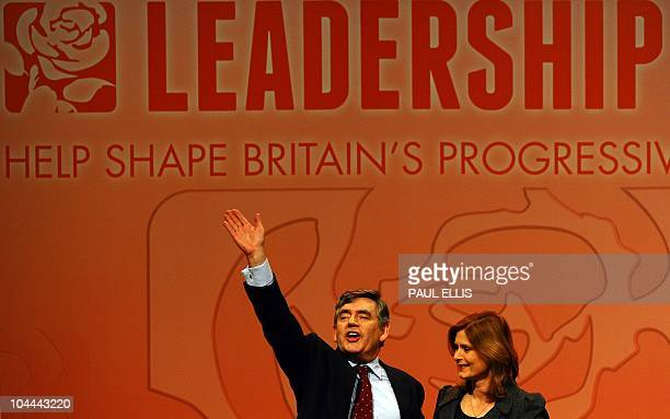 Former British Prime Minister Gordon Brown and his wife Sarah make an appearance before the new leader of Britain's opposition Labour Party was...