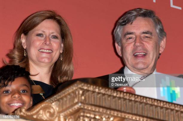 Former British Prime Minister Gordon Brown and wife Sarah Brown visit the New York Stock Exchange on September 25 2012 in New York City