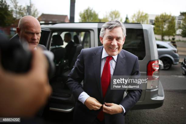 Former British Prime Minister Gordon Brown arrives at Dumbarton Town hall to speak to No campaigners on September 16 2014 in Glasgow Scotland Yes and...