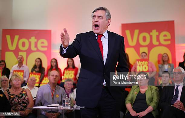 Former British Prime Minister Gordon Brown speaks at Dumbarton Town hall to No campaigners watched my campaign leader Alistair Darling and MSP Jackie...