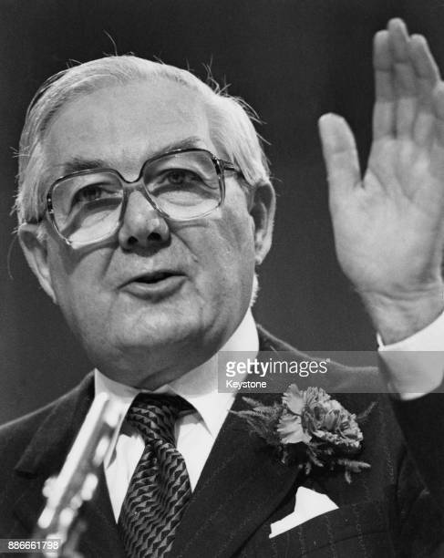 Former British Prime Minister James Callaghan Leader of the Opposition addresses the Labour Party Conference in Brighton UK 2nd October 1979
