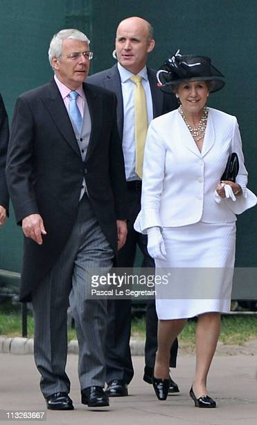 Former British Prime Minister John Major and Norma Major arrive to attend the Royal Wedding of Prince William to Catherine Middleton at Westminster...