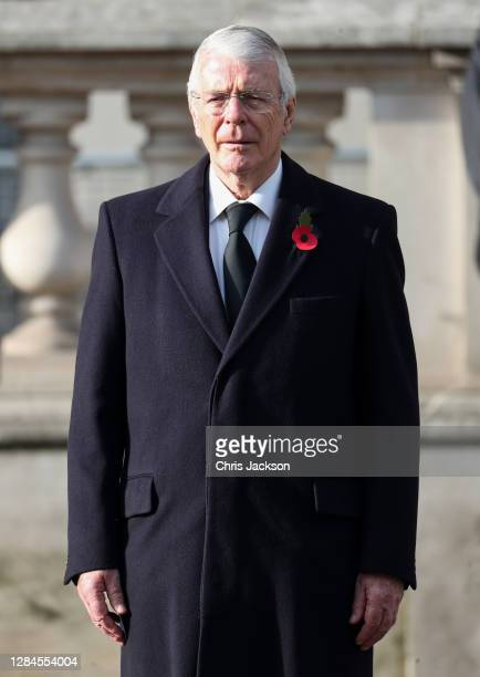 Former British Prime Minister John Major during the National Service of Remembrance at The Cenotaph on November 08, 2020 in London, England....