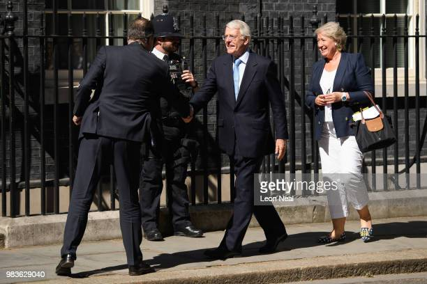 Britain's Prime Minister Theresa May talks with European Council President Donald Tusk inside 10 Downing Street in central London on June 25 at the...