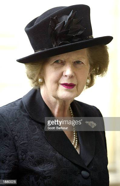 Former British Prime Minister Margaret Thatcher arrives at Westminster Abbey to attend a memorial service for the life and work of Lord Roy Jenkins...