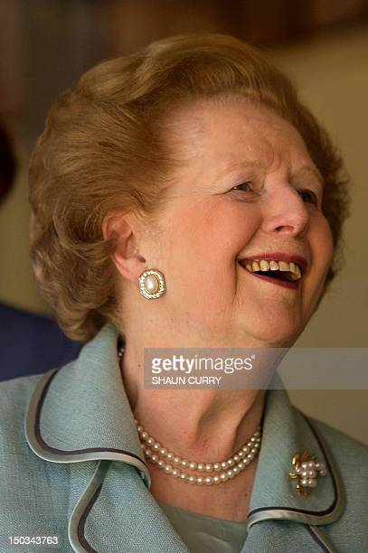 Former British Prime Minister Margaret Thatcher attends the opening of a new Canine Partners training accommodation building at the National Training...