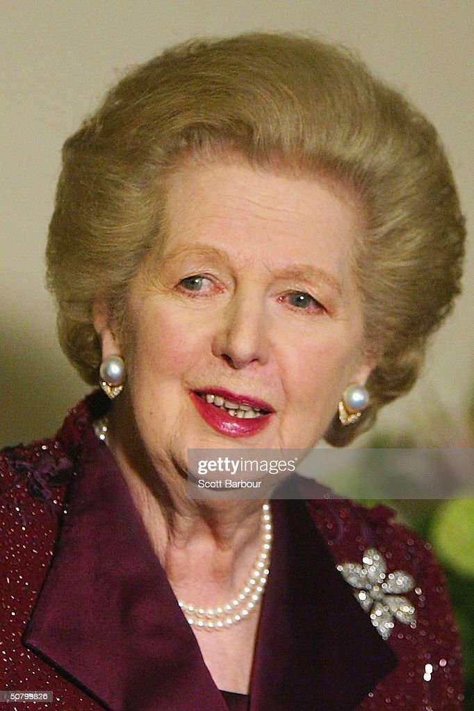 Former British Prime Minister Margaret Thatcher poses for photographers as she arrives at the Conservative Way Forward - 25th Anniversary Dinner on May 4, 2004 in London, England. The dinner was held to celebrate 25 years since Margaret Thatcher was elected Britain's first female prime minister.