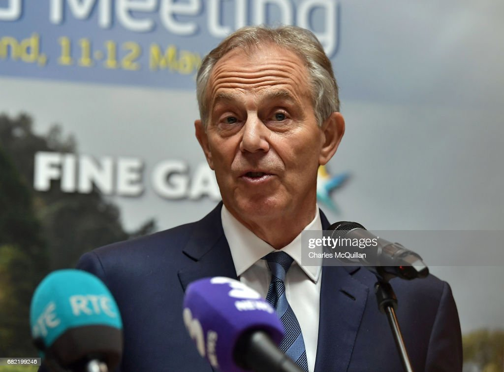 Former British Prime Minister Tony Blair addresses the media after attending the European People's Party (EPP) Group Bureau meeting at Druids Glen on May 12, 2017 in Wicklow, Ireland. Brexit and negotiating objectives will top the agenda at the meeting alongside the unique circumstances regarding the hard border issue between northern and southern Ireland, the only physical border between the United Kingdom and Europe. Mr Blair has signaled a return to politics in light of the Brexit vote. The meeting also features European Commission Brexit chief negotiator Michel Barnier.