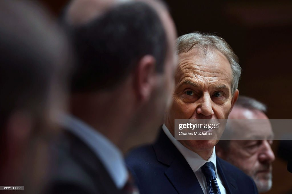 Former British Prime Minister Tony Blair addresses the media and EPP Group members after attending the European People's Party Group Bureau meeting at Druids Glen on May 12, 2017 in Wicklow, Ireland. Brexit and negotiating objectives will top the agenda at the meeting alongside the unique circumstances regarding the hard border issue between northern and southern Ireland, the only physical border between the United Kingdom and Europe. Mr Blair has signaled a return to politics in light of the Brexit vote. The meeting also features European Commission Brexit chief negotiator Michel Barnier.