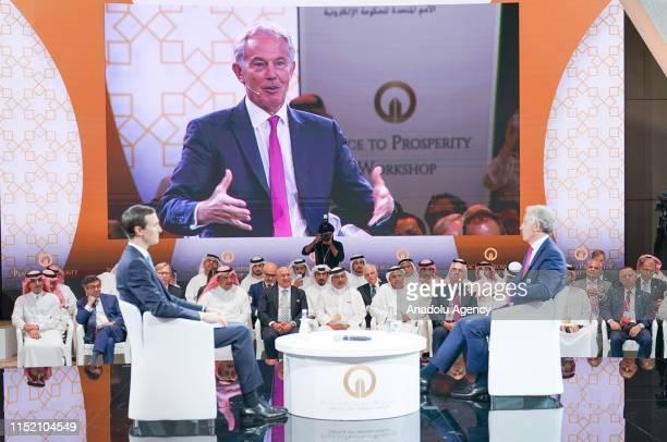 Former British Prime Minister Tony Blair and Jared Kushner US President Donald Trumps senior White House adviser and soninlaw attend USled workshop...