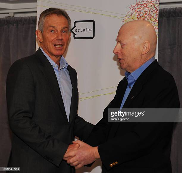 Former British Prime Minister Tony Blair and writer Christopher Hitchens in Toronto for a Friday evening debate on Religion Shown here the duo when...