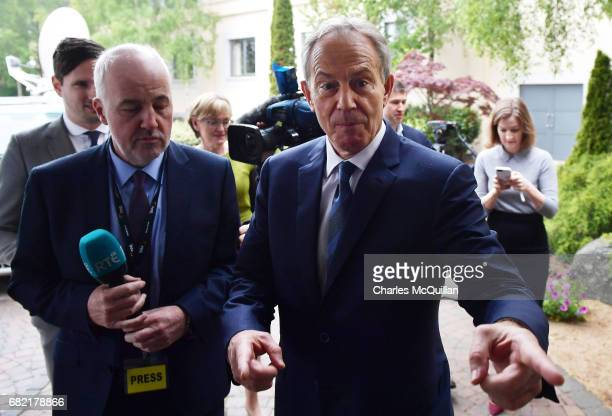 Former British Prime Minister Tony Blair arrives for the European People's Party Group Bureau meeting at Druids Glen on May 12 2017 in Wicklow...