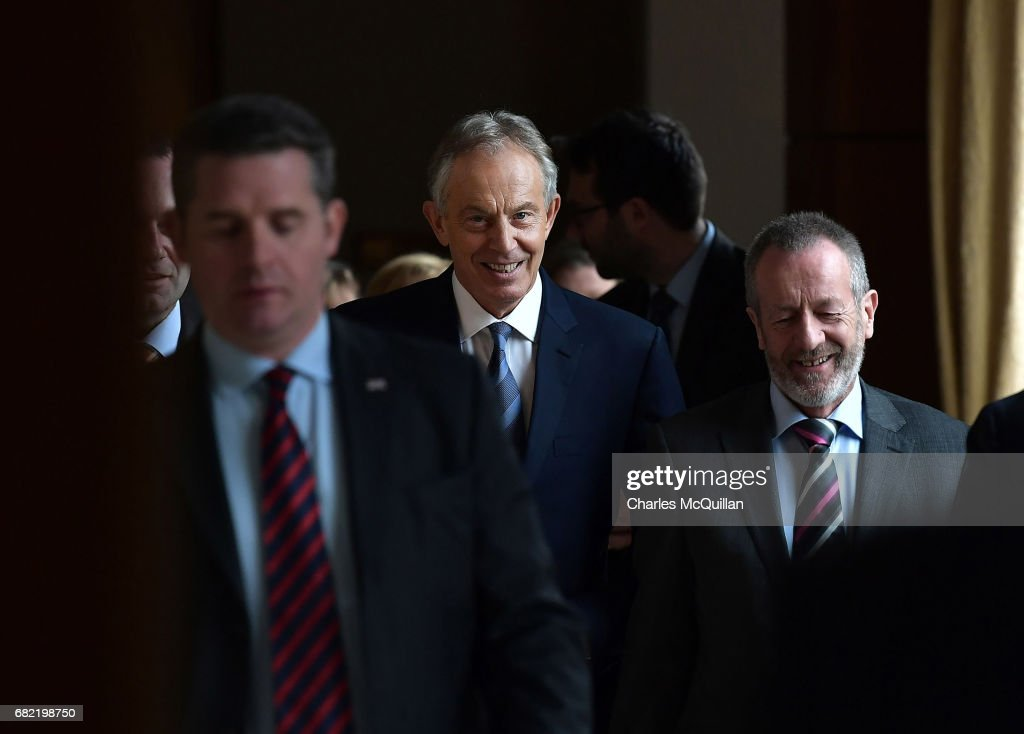 Former British Prime Minister Tony Blair (C) attends the European People's Party (EPP) Group Bureau meeting at Druids Glen on May 12, 2017 in Wicklow, Ireland. Brexit and negotiating objectives will top the agenda at the meeting alongside the unique circumstances regarding the hard border issue between northern and southern Ireland, the only physical border between the United Kingdom and Europe. Mr Blair has signaled a return to politics in light of the Brexit vote. The meeting also features European Commission Brexit chief negotiator Michel Barnier.