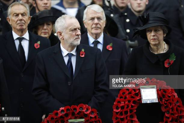 Former British prime minister Tony Blair Britain's opposition Labour Party Leader Jeremy Corbyn former British prime minister John Major and British...