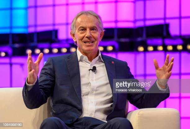 Former British Prime Minister Tony Blair current Executive Chairman of the Institute for Global Change delivers remarks while talking onstage with...