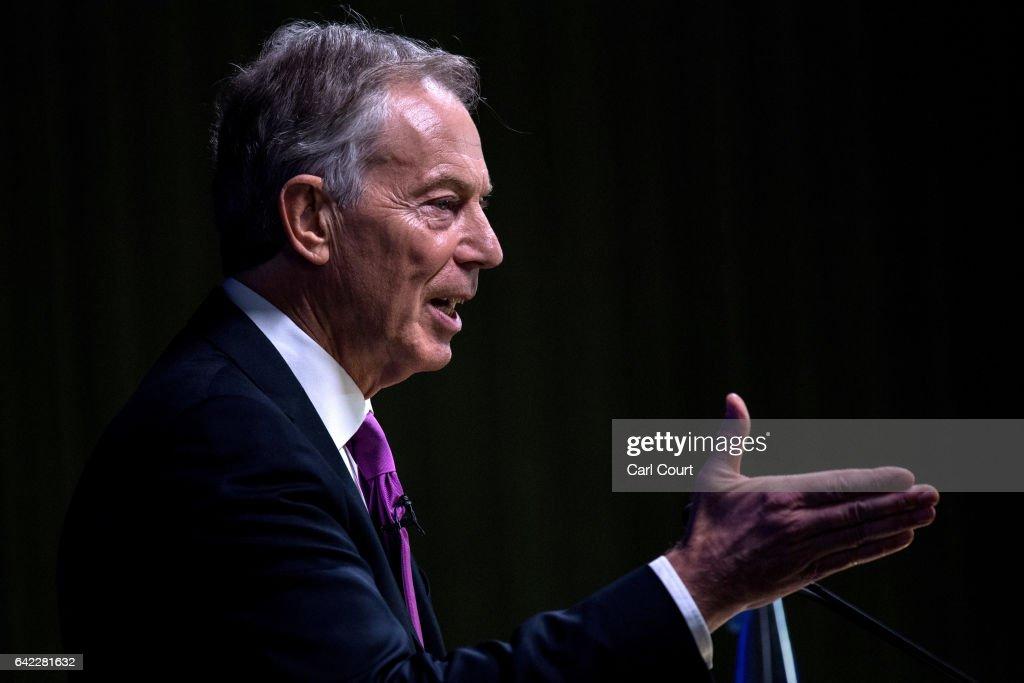 Tony Blair Gives Pro-Eu Keynote Speech : News Photo