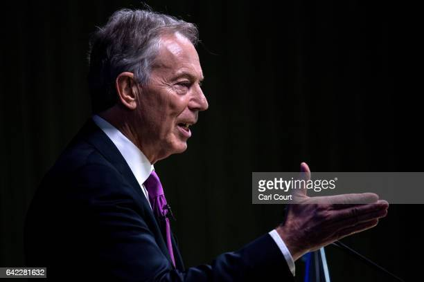 Former British Prime Minister Tony Blair delivers a keynote speech at a pro-EU event on February 17, 2017 in London, England. Mr Blair claimed that...