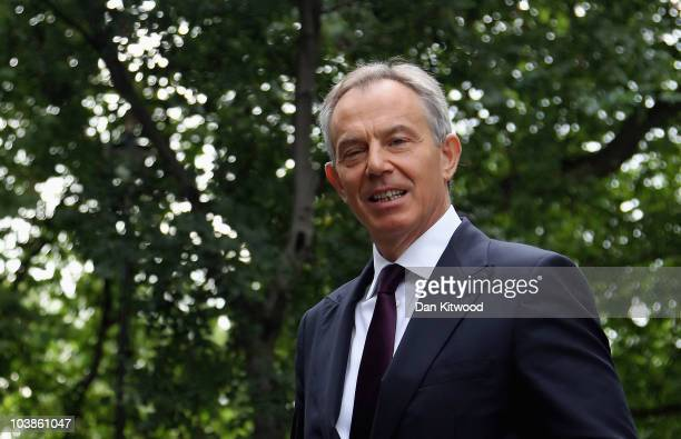 Former British Prime Minister Tony Blair leaves Millbank Studios after taking part in television interviews on September 6, 2010 in London, England....