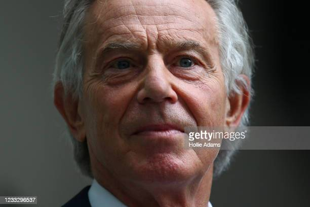Former British Prime Minister Tony Blair leaves the BBC after appearing on The Andrew Marr Show on June 6, 2021 in London, England. The weekly news...